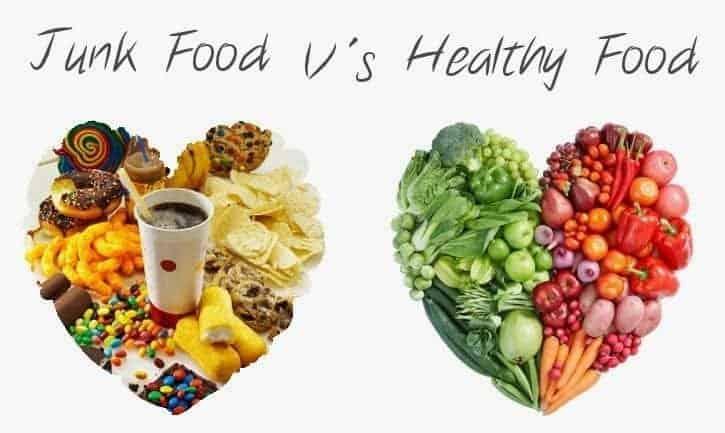 junk food versus healthy food